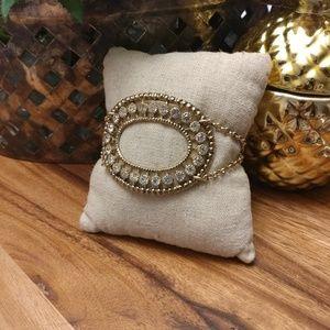 Lulu Frost J.Crew art Deco gold & crystal bracelet